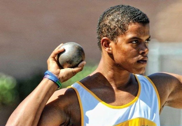 Pictured is Ariel Turnbull, VI Special Olympian competing in shot-put (photo credit: Special Olympics Virgin Islands).