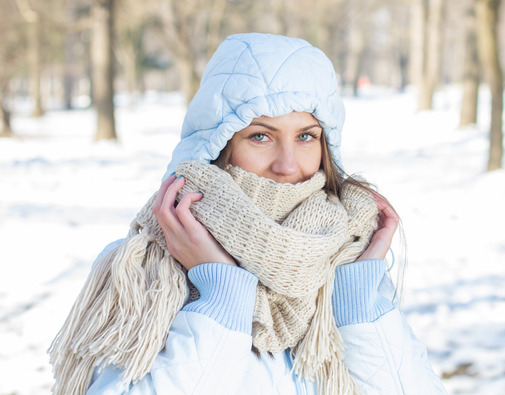 Winter Portrait of Young Woman Outdoor