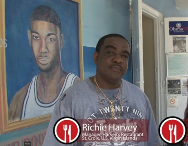 Tim's family is associated with Harvey's restaurant in Christiansted, where Duncan's portraits are proudly painted outside.  Image credit: The Daily Meal (http://www.thedailymeal.com/video/eat-nba-star-tim-duncan)