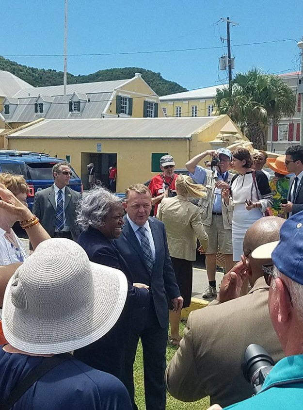 Pictured is Prime Minister of Denmark Lars Løkke Rasmussen arriving at Fort Christiansvaern on St. Croix for Centennial festivities on Friday, March 31. Photo Credit: Greg Worrell