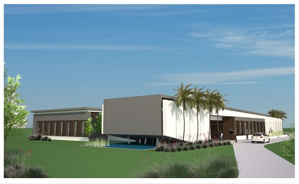 A sketch of the building planned to be the UVI Med School Simulation Center.