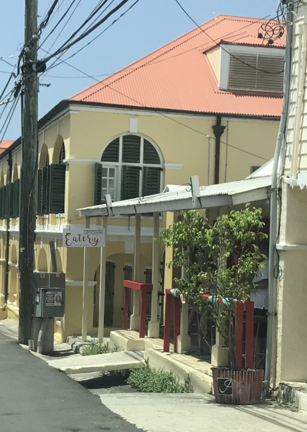 Uptown Eatery is located on Queen Cross Street in Christiansted next door to Joyia jewelry.